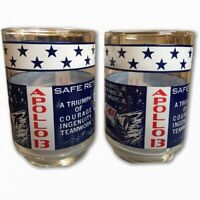 Vintage Libbey Apollo 13 Drinking Glasses MOON LANDING MEMORABILIA  Set of 2 '70