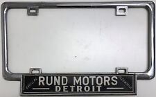 Vintage license plate metal frame Rund Motors Detroit Cadillac & Oldsmobile