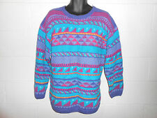 Womens Vintage 80s 90 LL Bean Colorful Allover Print Sweater L/XL