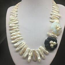 white Biwa Freshwater Pearl Stone Onyx moonstone Flower Wide Statement Necklace