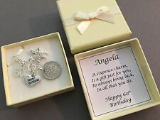 LUCKY SIXPENCE CHARM, 60th, BIRTHDAY GIFT, PERSONALISED, 1958 coin, 2018