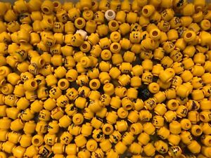 LEGO BULK LOT 50 NEW MINIFIGURE HEADS FIGURE TOWN CITY BODY PARTS YELLOW MORE