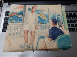 watercolour ART DECO to restore  TENNIS a black player at a Colonial Club   odd!