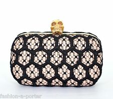 ALEXANDER McQUEEN HONEYCOMB CROCHET LEATHER BOX CLUTCH BAG SWAROVSKI CRYSTALS