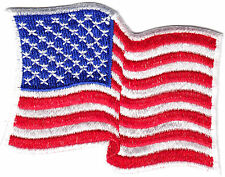 AMERICAN FLAG WAVING,WHITE BORDER/Iron On Embroidered Patch, USA,Patriotic,Biker