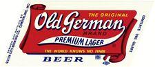 Old German Premium Lager Beer Label