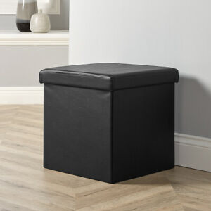 Folding Ottoman Black Faux Leather Chest Solid Sturdy Storage Space Saving Box