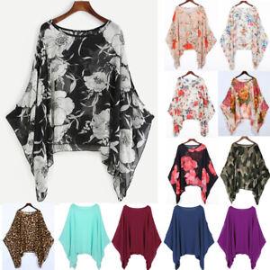 Lagenlook KAFTAN Ladies Batwing Sleeve Chiffon Tunic Tops Loose Floral Blouse