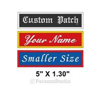 "Custom Embroidered Name Tag Sew on Patch Biker Rectangular Badge 5"" X 1.30"" (B)"