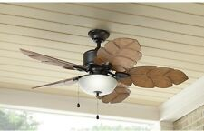 """52"""" Tropical Palm Indoor Outdoor 5 Blades Semi Flush Mount Ceiling Fan and Light"""