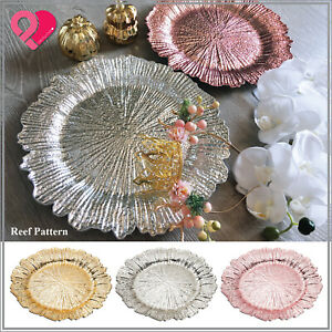 6-24 Wavy Scalloped Edge Acrylic Plastic Charger Plate Shiny Rose Gold Silver