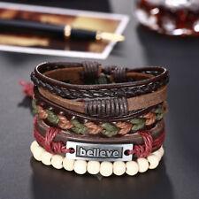 Leather Bracelet Adjustable Size Handmade  Brown Lace Up Clasp L497