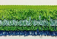 4 Tier looped Chainette Fringe Col. Lime/Aqua/A. Green/Turq - 4 Continuous Yards
