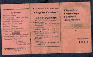VICTORIAN TRAMWAYS FOOTBALL ASSOCIATION SEASON 1954 AUSSIE RULES FIXTURES CARD