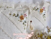 Handmade Filet Lace Ribbon Embroidered Pillow Cushion Cover~Romantic Cottage~