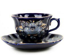 7 fl oz Porcelain Teacup & Saucer Handmade Gold Plated Gzhel Porcelain / ГЖЕЛЬ