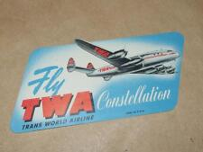 Vintage TWA Constellation Propellor Airplane Luggage Label Never Used
