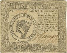 1778 $8 CONTINENTAL CURRENCY AMERICAN REVOLUTION ERA NOTE - NICE ABOUT NEW