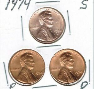 1974-D-P-S Three Uncirculated Linccoln Cent Coins!