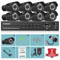 FLOUREON 1080P 8CH AHD DVR 3000TVL IP Video Camera Home Security Recorder System