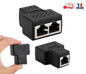Coupleur Adaptateur RJ45 1 Femelle à 2 Femelle Ethernet Cat 5 Cat 6 Ethernet LAN