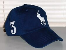 POLO RALPH LAUREN Big Pony Hat, Chino Sport Baseball Cap, Leather Strap NAVY nwt