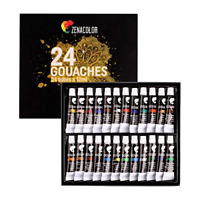 Set of 24 Gouache Paint Tubes 0.4 Oz for Canvas - for Beginners and Experts