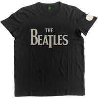 The Beatles Drop T Logo Applique Official Merchandise T-Shirt M/L/XL - Neu