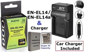 Hi-Capacity Lithium Ion Battery Pack With Charger for Nikon D3100 D3200 D3300