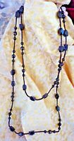 Antique Necklace Victorian Mourning Jet Black Glass Beads on Black Cord
