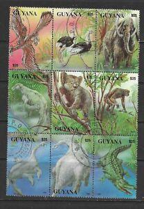 Guyana 1993 Prehistoric Animals Block of 9 CTO (1)