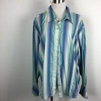 Lane Bryant Sz 26 28 Blouse Button Cotton Stretch Striped Blue Long Slv Metallic