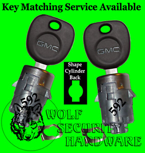 GMC Sierra Yukon Door Lock Key Cylinder Barrel Tumbler Pair Set 2 GMC Keys