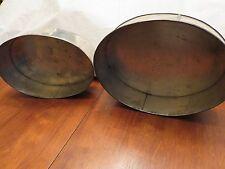 Antique vintage pair oval heavy tin cake pans commercial wedding cake primitive