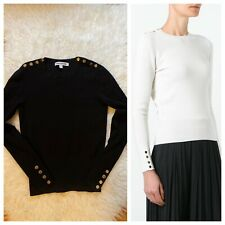 Elizabeth and James Gabrielle Shoulder Button Pullover Sweater~XS~Black