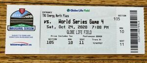 FULL MINT AUTHENTIC TICKET 2020 WORLD SERIES GAME 4 *BOX OFFICE ISSUED*