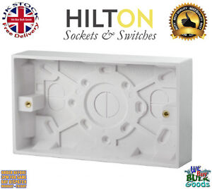 HILTON 2Gang 25mm Double Surface Mounting Plastic Pattress Box***Best Quality***