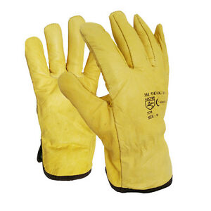 2 X Soft Leather Lorry Drivers Safety Work Gloves Fleece Lined Mens DIY Quality