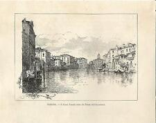 Stampa antica VENEZIA Canal Grande dal Ponte Accademia 1892 Old Print VENICE