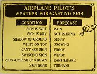 Airplane Pilot's Weather Forecast Vintage Aviation Porcelain Metal Sign