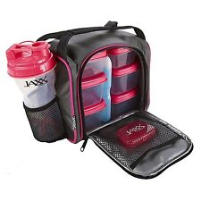 Jaxx FitPak Lunch Box Portion Control Packs Ice Pack Shaker Cup Black Pink NWT