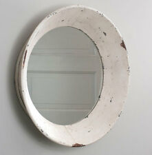 Primitive new HUGEdistressed tan/cream chippy tin round DUTCH wall mirror / nice