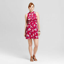 NWT - Women's Knot Front Knit Fit & Flare Dress - Xhilaration Juniors Berry - XS
