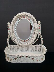 VINTAGE WHITE WICKER MIRROR TABLE TOP STAND SWIVEL VANITY SHABBY CHIC STANDING