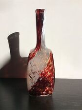 Bouteille en verre soufflé moulé moucheté blanc et rouge de Clichy début XXème