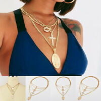 Bohemia Multilayer Choker Necklace Crystal Cross Chain Gold Women Summer Jewelry