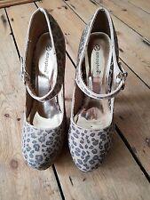 Atmósfera Estampado de Leopardo Zapatos De Plataforma Talla 6 Nuevo