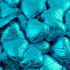 Foil Wrapped Milk Chocolate Hearts High Quality Wedding Party Table Favours Turquoise 50