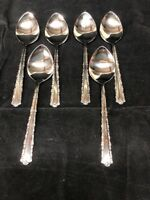 "Oneida Deluxe ""Cherie"" stainless Silverware Flatware 6 Soup Spoons"
