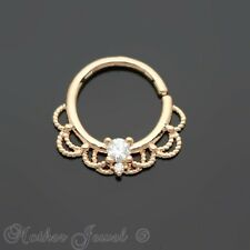 SIMULATED DIAMOND 14K ROSE GOLD IP NOSE SEPTUM TRAGUS CARTILAGE HOOP RING